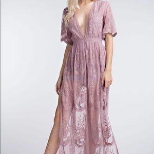 Purple Lace Maxi Romper Dress Deep V Size M
